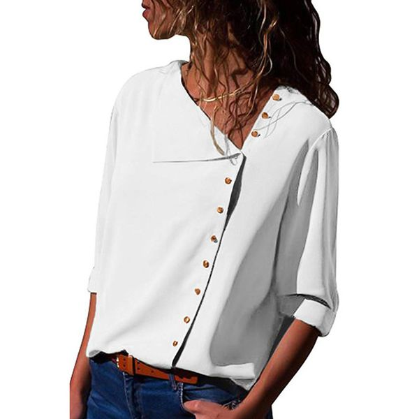 Solid Casual V-Neckline 3/4 Sleeves Blouses (1645381447) 4