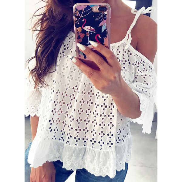 Solid Casual Camisole Neckline 3/4 Sleeves Blouses (1645589158)