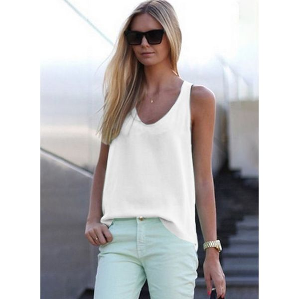 Solid Casual Camisole Neckline Sleeveless Blouses (1645378298) 5