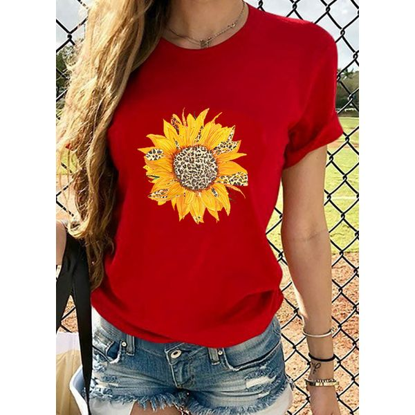 Floral Round Neck Short Sleeve Casual T-shirts (1685569244)