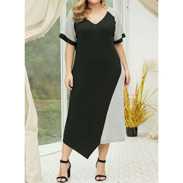 Plus Size Color Block Tunic V-Neckline Maxi Shift Dress (1955420721, Black