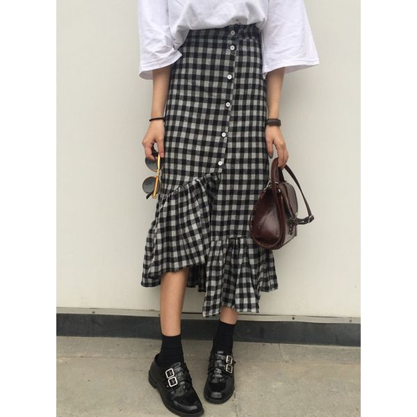 Check Mid-Calf Casual Buttons Skirts (1725377823) 8