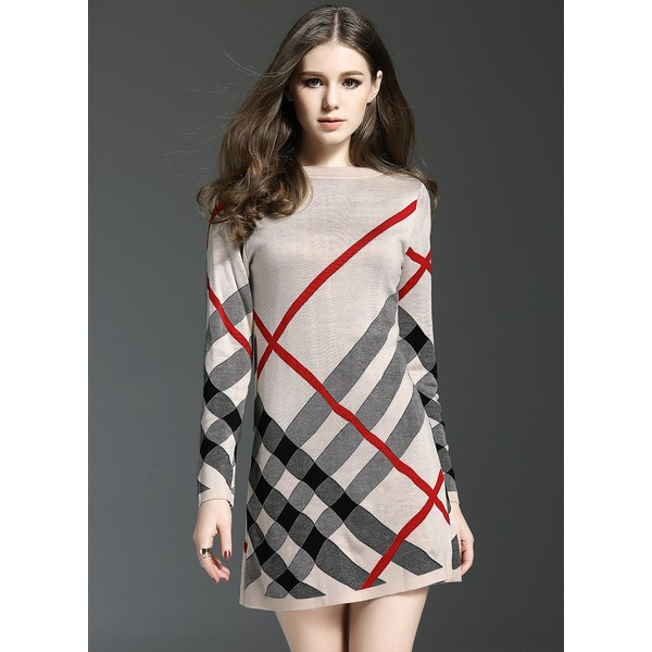Casual Round Neckline Long Sleeve Above Knee Shift Dress (1955115567)