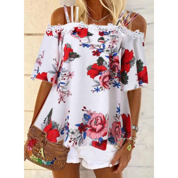 Floral Casual Camisole Neckline Half Sleeve Blouses (1645593478)