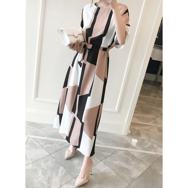 Color Block Wrap Half Sleeve Maxi X-line Dress (1955215685) 9