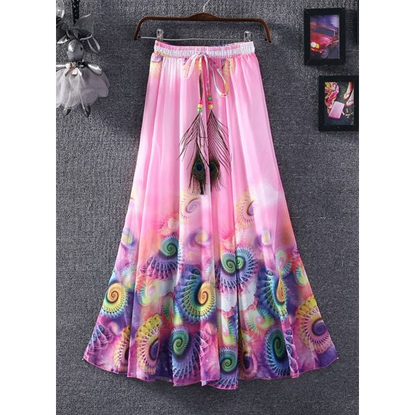 Floral Mid-Calf Casual Sashes Skirts (1725377811) 3