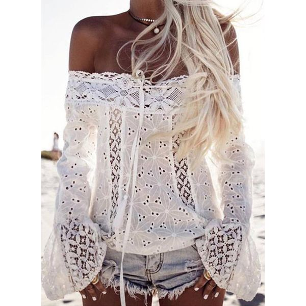 Solid Sexy Off the Shoulder Long Sleeve Blouses (1645567061)