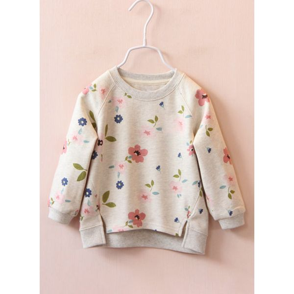 Girls' Floral Round Neckline Long Sleeve Tops (30125309229) 9