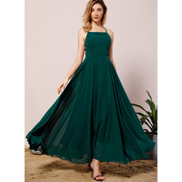 Solid Zipper Sleeveless Maxi A-line Dress (1955180468) 12