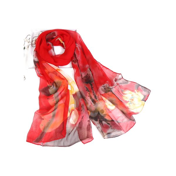 Casual Floral Scarves (1775417964, Red