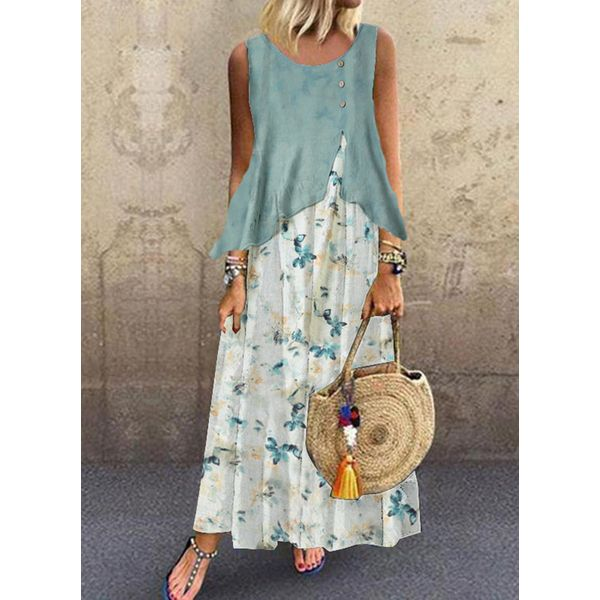Casual Floral Tunic Round Neckline Shift Dress (1955559246)