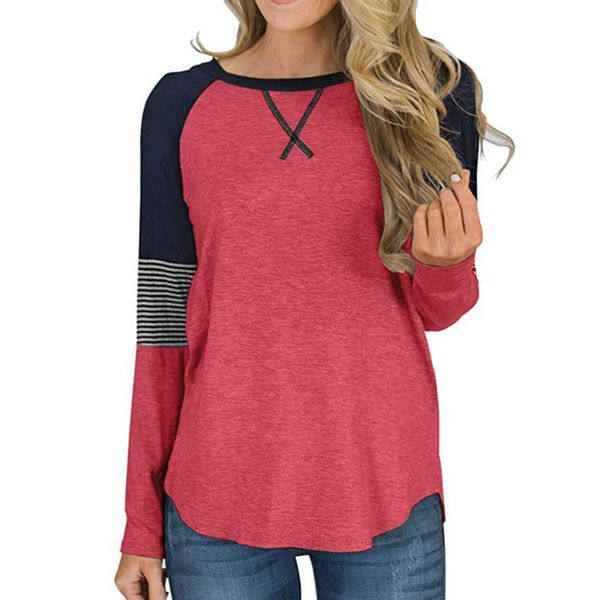 Color Block Round Neck Long Sleeve Casual T-shirts (1685471063)