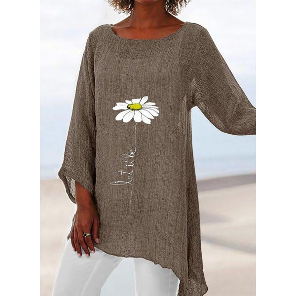 Floral Casual Round Neckline Long Sleeve Blouses (1645588776)