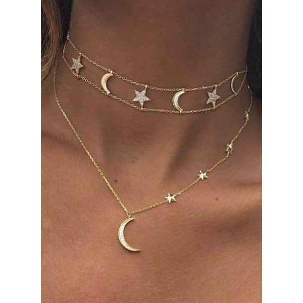Casual Moon Crystal Pendant Necklaces (1845598047)