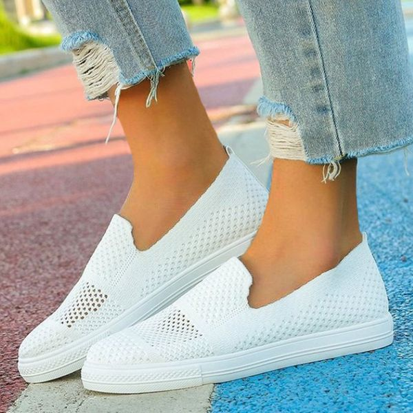 Women's Hollow-out Closed Toe Fabric Flat Heel Sneakers (1625592374)
