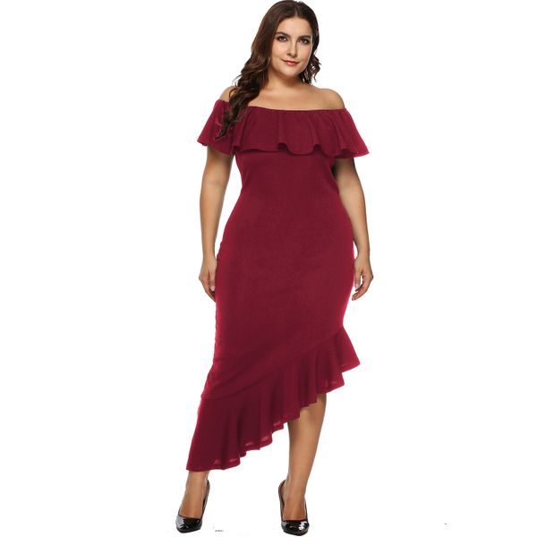 Plus Size Solid Ruffles Pencil Midi Sheath Dress (1955380226) 5