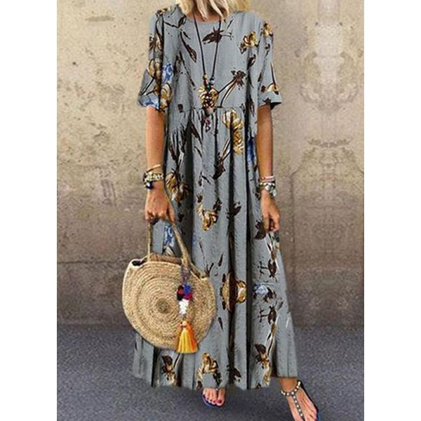 Casual Floral Tunic Round Neckline Shift Dress (1955565050)