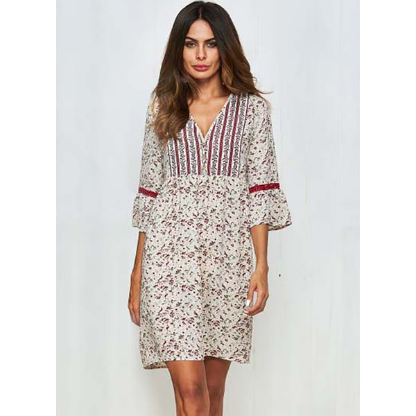 Floral Buttons 3/4 Sleeves Above Knee Shift Dress (1955382367) 6