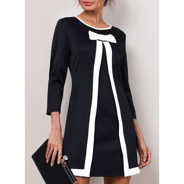Solid 3/4 Sleeves Above Knee A-line Dress (1955189433) 1