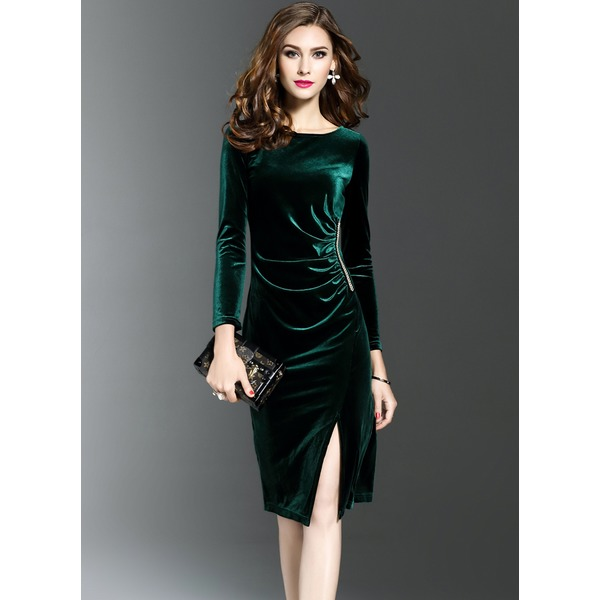 Solid Long Sleeve Knee-Length Bodycon Dress (1955192877) 9