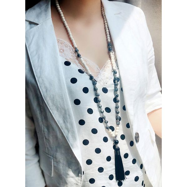 Casual Tassel Ball Crystal Pendant Necklaces (1845591925)