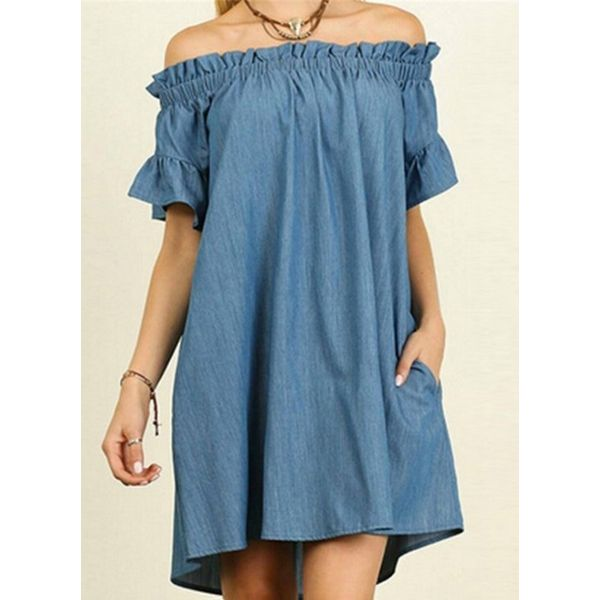 Plus Size Solid Ruffles Short Sleeve Above Knee Shift Dress (1955382182) 1