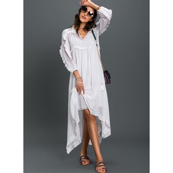 Solid Embroidery Tank Maxi Shift Dress (01955378047) 3
