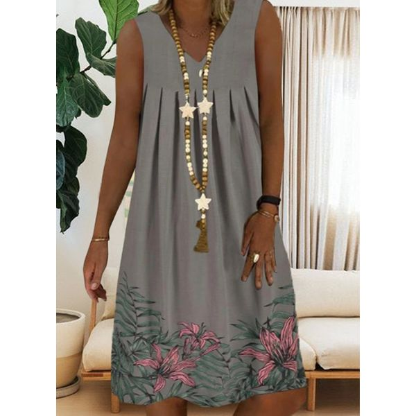 Casual Floral Tunic V-Neckline Shift Dress (1955593900)