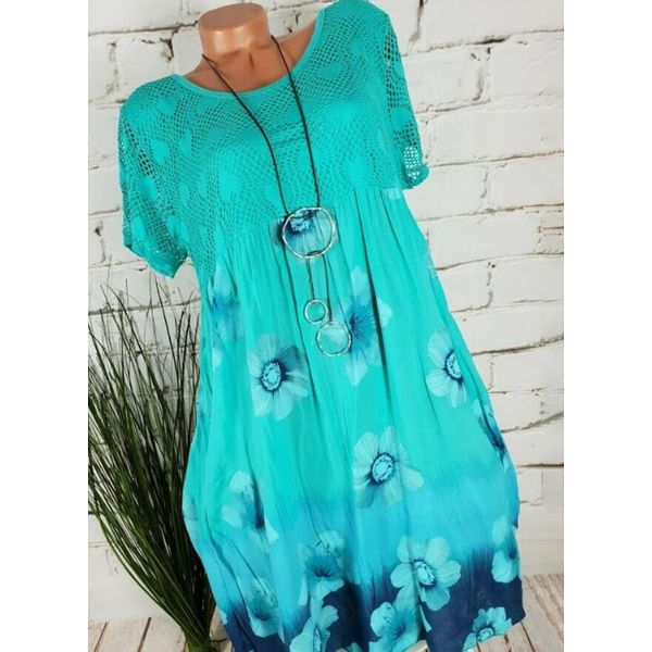 Casual Floral Tunic Round Neckline A-line Dress (1955598734)