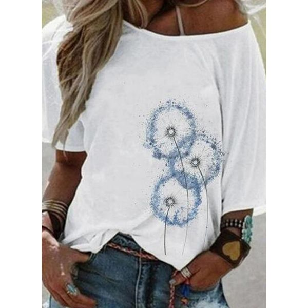 Floral Round Neck Short Sleeve Casual T-shirts (1685591609)