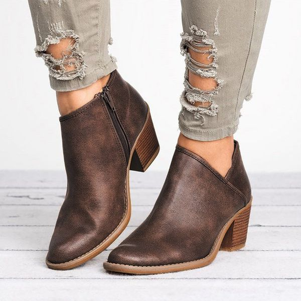 Zipper Ankle Boots Chunky Heel Shoes (1625335099) 4