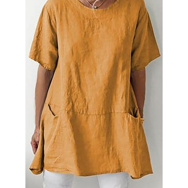 Plus Size Solid Casual Round Neckline Short Sleeve Blouses (30355570296)