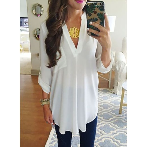 Solid Casual V-Neckline 3/4 Sleeves Blouses (1645378981) 6