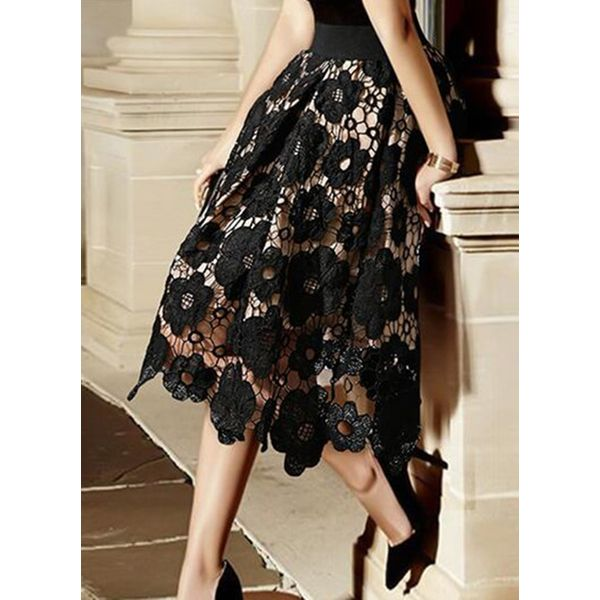 Floral Mid-Calf Elegant Hollow Out Skirts (1725582291)