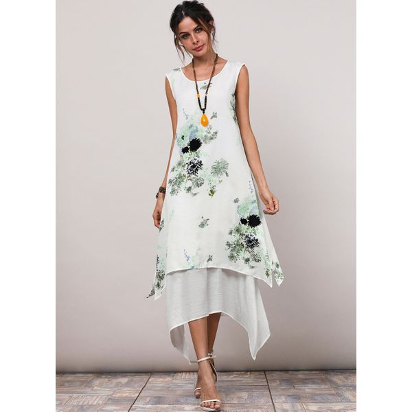 Floral Appliques Sleeveless High Low A-line Dress (1955189436) 1