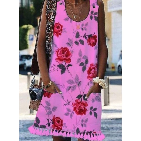 Casual Floral Tunic Round Neckline Shift Dress (1955586997)