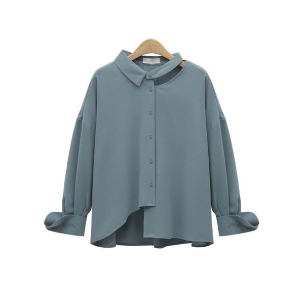 Plus Size Solid Casual Collar Long Sleeve Blouses (1645382250) 9