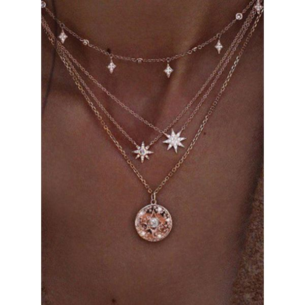 Casual Star Round No Stone Pendant Necklaces (1845559530)