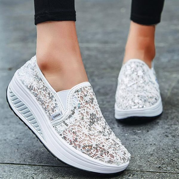 Women's Sequin Hollow-out Closed Toe Lace Wedge Heel Sneakers (1625595610)