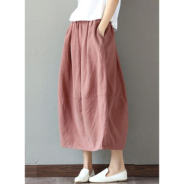 FloryDay / Solid Mid-Calf Casual Pockets Skirts (1725372869)
