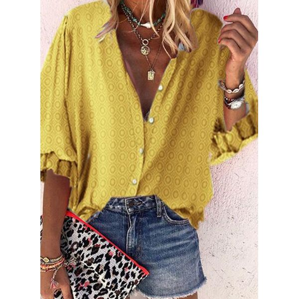 Color Block Casual V-Neckline 3/4 Sleeves Blouses (1645597089)