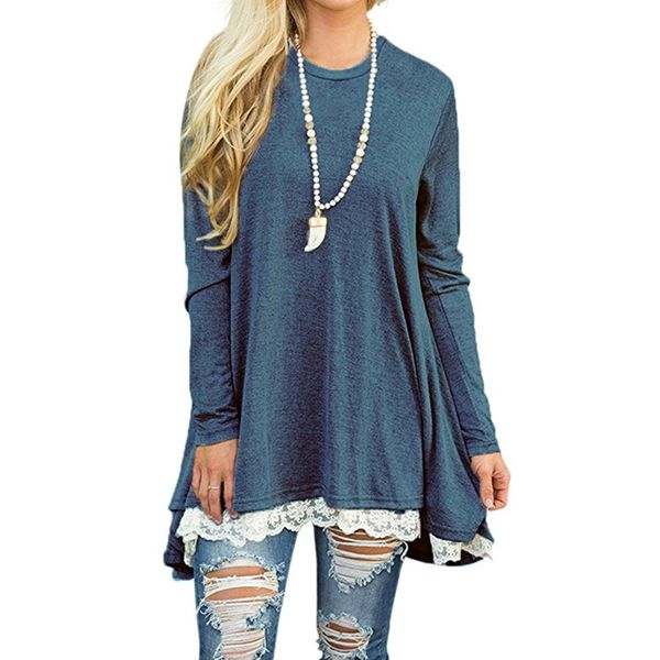 Round Neckline Solid Loose Long A-line Sweaters (1675377458) 6