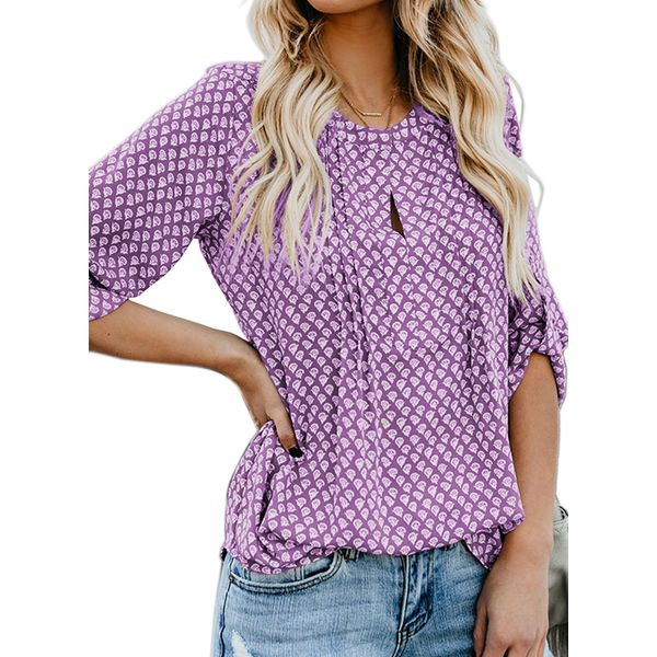 Solid Casual Round Neckline 3/4 Sleeves Blouses (1645425745, Black;blue;red;yellow;purple