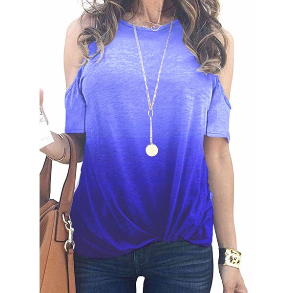 Color Block Round Neck Short Sleeve Casual T-shirts (1685599964)