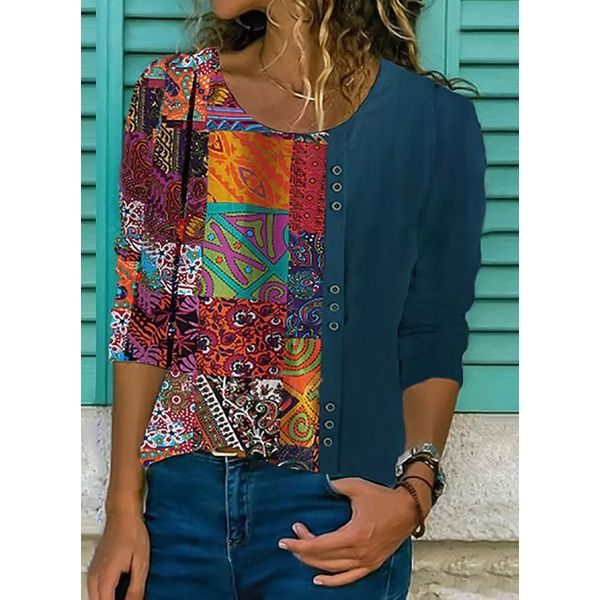 Color Block Casual Round Neckline 3/4 Sleeves Blouses (1645540899)