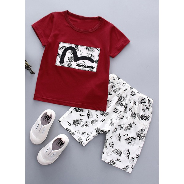 Boys' Patchwork Daily Short Sleeve Clothing Sets (30165312660) 2