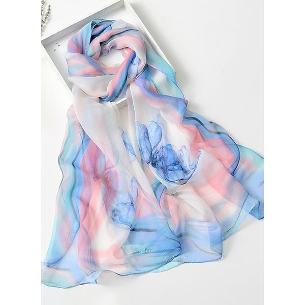 Casual Floral Scarves (1775343113, Blue