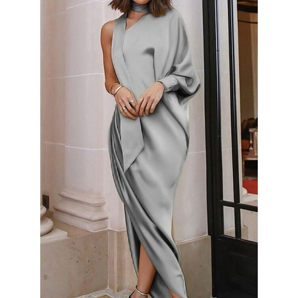 Solid Long Sleeve High Low Sheath Dress (1955353037) 9