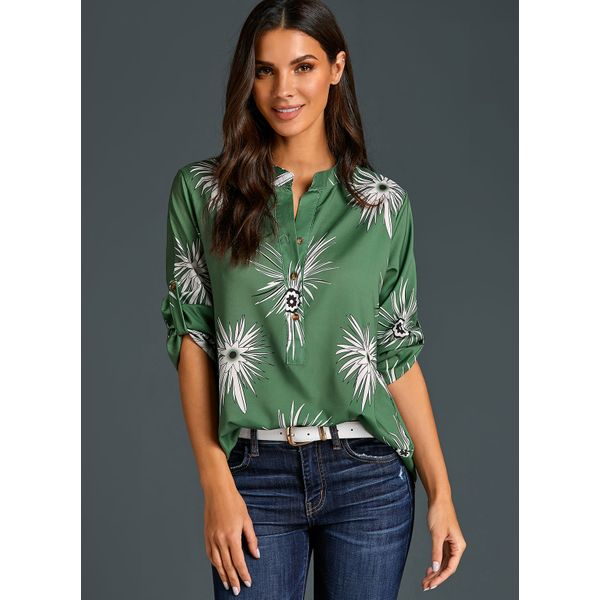 Floral Casual Round Neckline Long Sleeve Blouses (01645383759) 4