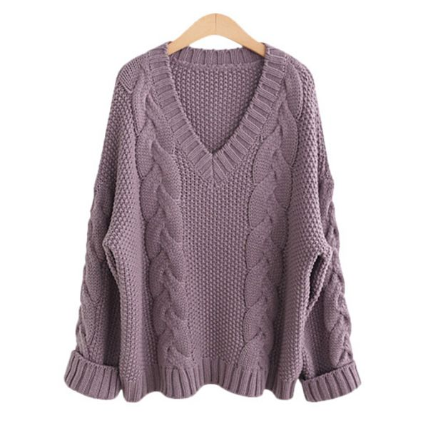 V-Neckline Solid Loose Regular Shift Sweaters (1675380146, Black;off-white;purple